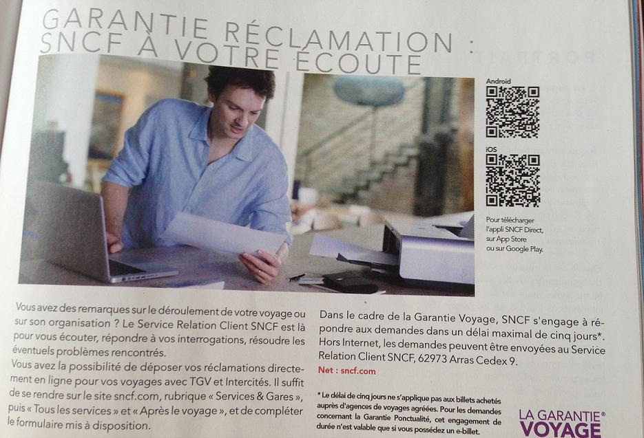Satisfaction client - extrait du magazine de la SNCF
